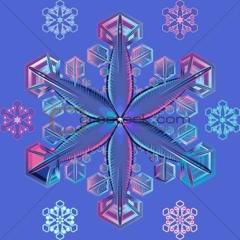 vector blue transparent snowflake