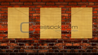 old blank papers on the brick background