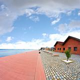 The old harbor of Thessaloniki, Greece, captured with fisheye le
