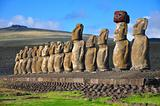 Fifteen moai at Tongariki, Easter Island