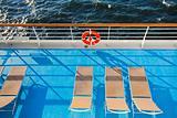 sunbath chairs on  cruise liner