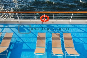 sunbath chairs on  cruise liner