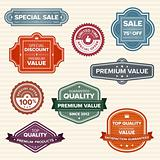 Vintage retro labels in various colors