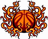Basketball Template with Flames Vector Image