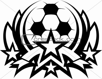 Soccer Ball Vector Graphic Template with Stars