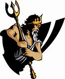 Titan Mascot with Trident and Crown Graphic Vector Illustration