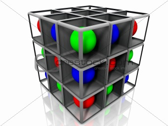 cube and balls