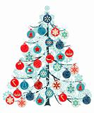 Stylized Christmas tree made of balls