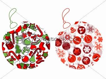 Christmas balls made of Christmas symbols.