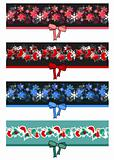 Different Christmas seamless borders