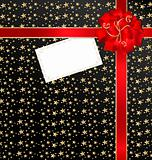 black-red background with bow and empty card