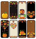 Thanksgiving set of tags in brown color