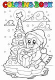Coloring book penguin holding gift