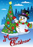 Merry Christmas card with snowman 1