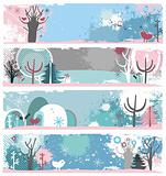 Winter grunge banners.