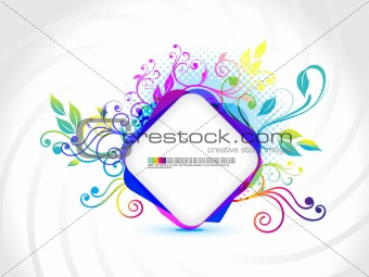 abstract rectangular banner with floral