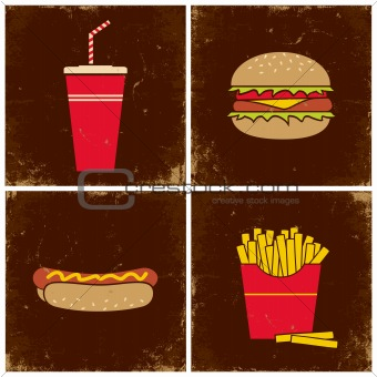 Four illustrations fast food