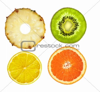 sliced pink pineapple, kiwi, lemon and orange isolated on white