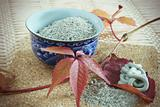 Porcelain drinking bowl with powder of clay and prepared mixture