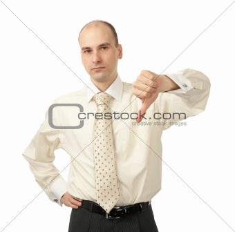 business man with thumbs down