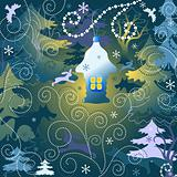 Magic forest. Christmas background