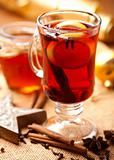 Hot tea with lemon and spices for winter time