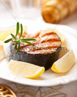 Grilled salmon with lemons for Christmas