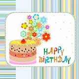 happy birthday greeting vector background with cake and flowers