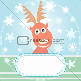 A Xmas greetings card with Rudolph the Reindeer vector