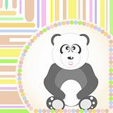 greetings Card with a smiling sitting panda. Vector illustration