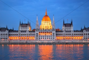 Budapest. Parliament House at twilight