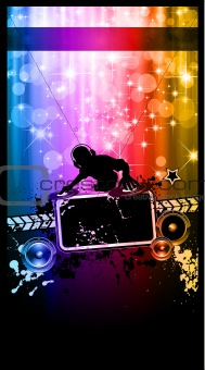 Disco Event Poster with a Disk Jockey