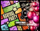 party flyer for Christmas disco music event.