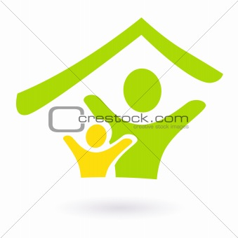 Abstract real estate, family or charity icon isolated on white