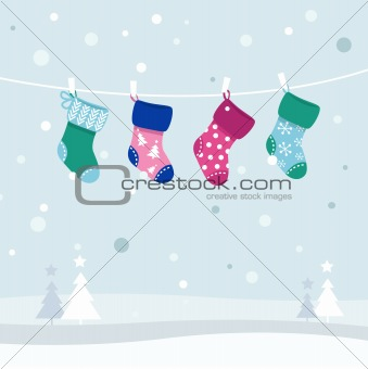 Retro colorful Christmas Stockings collection