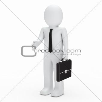 3d business man handshake