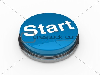 3d button start blue