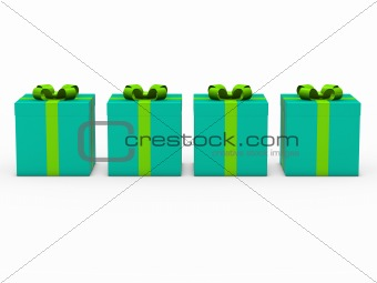 3d gift box blue green