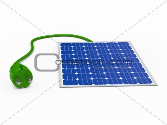 3d solar panel with green plug
