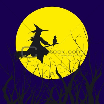 Halloween background silhouette of a witch flying in a broom wit