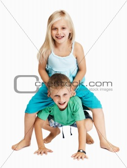 Young girl and boy playing together