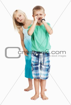 Naughty boy with girl on white background
