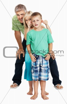 Cheerful father and children having fun
