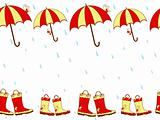 Illustration cute rain boots and umbrella seamless pattern