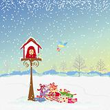 Christmas greeting robin birds and colorful present