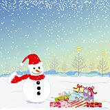 Christmas greeting snowman and colorful present