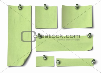 Set of green notes