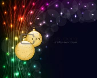 Christmas balls and neon lights