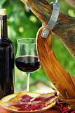 Spanish Jamon  and red wine.