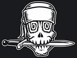 Pirate skull with knife,